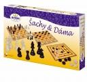 Šachy a dáma dřevo společenská hra v krabici 35x23x4cm Detoa