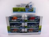 Vrtulník/Helikoptéra kov/plast 10cm asst 3 barvy v krabičce 24ks v boxu