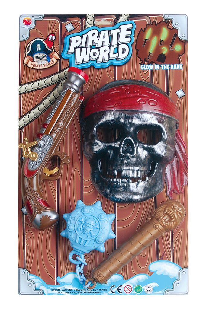 Pirátská sada maska, bambitka, palcát co svítí ve tmě.