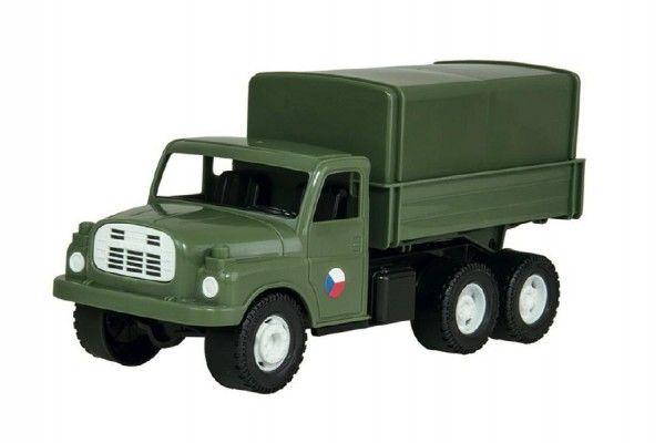 Auto nákladní Tatra 148 khaki vojenská plast 30cm v krabici 35x18x13cm Dino