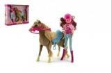 Kůň + panenka žokejka plast v krabici 34x27x7cm