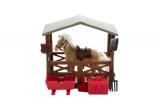 Kůň fliška se stájí a doplňky plast v krabici 23x27x9cm Teddies