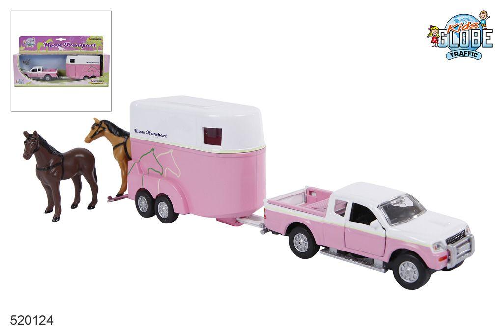 Dodávka Mitsubishi L200 s přívěsem pro koně Alltoys
