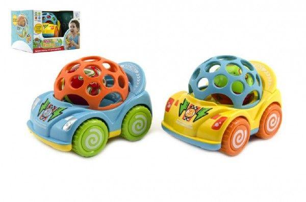 Auto s chrastítkem plast 10cm asst 2 barvy v krabičce 18x12x14cm 12m+ Teddies