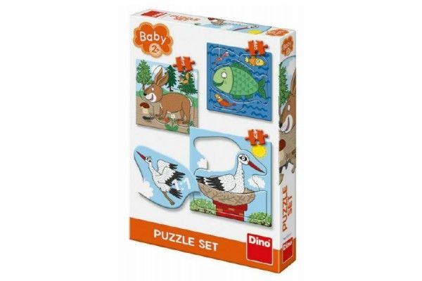 Puzzle baby zvířátka 3 obrázky 18x18cm 12 dílků v krabici 19x27x Dino