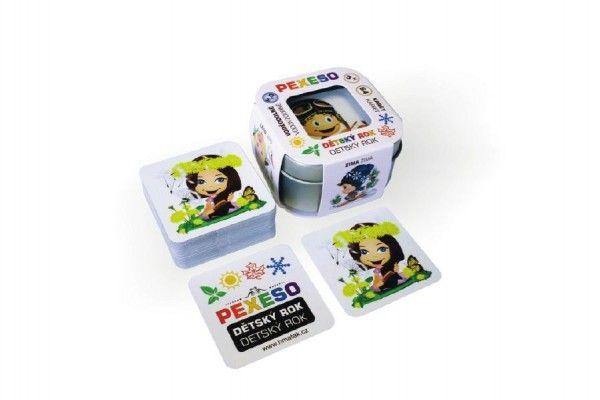 Pexeso dětský rok voděodolné 64 karet v plechové krabičce 6x6x4cm Hmaťák Teddies