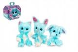 Zvířátko FUR BALLS Touláček pejsek/kočička/králík modrý plyš plast 10cm s doplňky v krabici24x20x10c