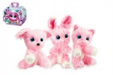 Zvířátko FUR BALLS touláček pejsek/kočička/králík růžový plyš 10cm s doplňky v krabici24x20x10cm
