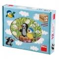 Kostky kubus Krtek a ptáček dřevo 12ks v krabičce 22x17x4cm Dino
