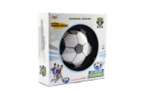 Míč/Disk fotbalový létající plast 14cm na baterie se světlem v krabičce Teddies