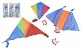 Drak létající polyester 45x25cm/25x28cm/46x28cm barevný v sáčku 36ks v boxu Teddies