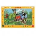 Puzzle deskové Krtek a lokomotiva 29,5x19cm 15 dílků Dino