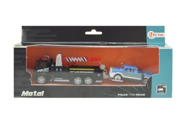 Auto odtahovka s jeřábem 2ks kov 18cm na zpětné natažení v krabičce 24x11x5cm Teddies