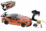 Auto RC oranžové zrychlující plast 40cm 27MHz na baterie + dobíjecí pack v krabici 56x20x24cm