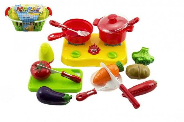Nákupní košík s ovocem a zeleninou + doplňky krájecí plast 20x10x12cm Teddies
