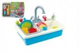Dřez na mytí nádobí + kohoutek na vodu na baterie 20ks plast 41x28x10cm