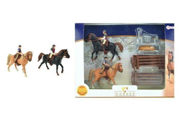 Sada kůň 2ks + žokejové s doplňky farma plast v krabici 37x28x5cm Teddies