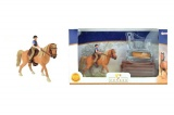 Sada kůň + žokej s doplňky farma plast v krabici 34x19x5cm Teddies