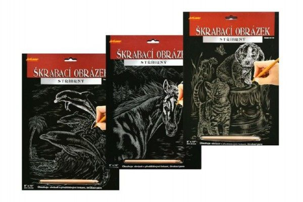 Škrabací obrázek stříbrný asst 3 druhy 20x25cm SMT Creatoys