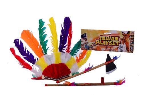 Indiánská sada - sekyrka, čelenka,dýmka Johntoy