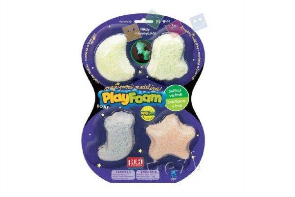 PlayFoam Modelína/Plastelína kuličková svítící ve tmě 4 barvy na kartě 19x26x3cm PEXI