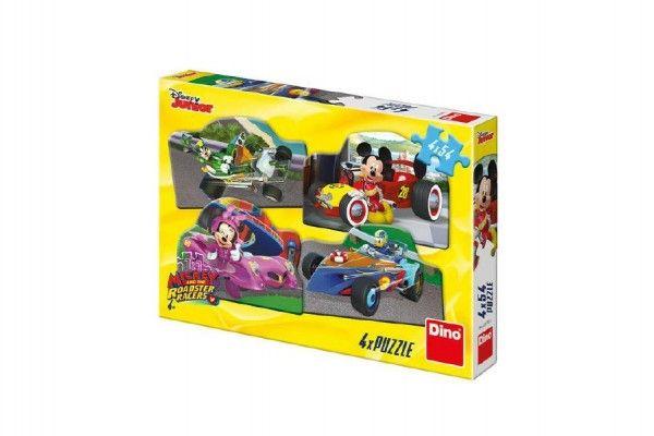 Puzzle Mickey a Minnie na závodech 4x54 dílků 19x13cm v krabici 27x19x4cm Dino