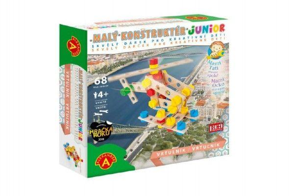 Malý konstruktér junior vrtulník 68 dílků dřevěná stavebnice v krabici 24,5x25x6cm PEXI
