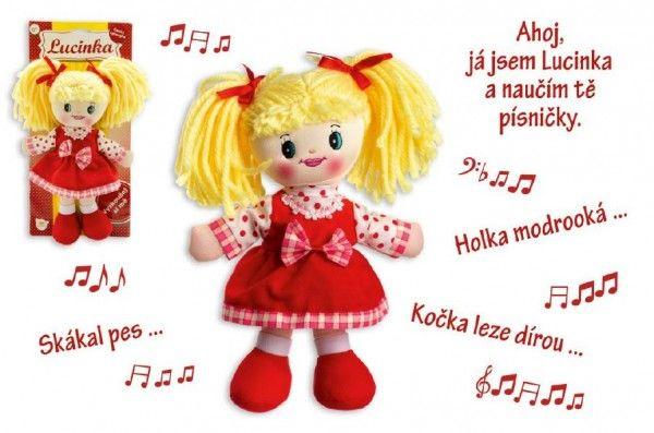 Panenka Lucinka hadrová plyš 30 cm česky zpívající na kartě Teddies