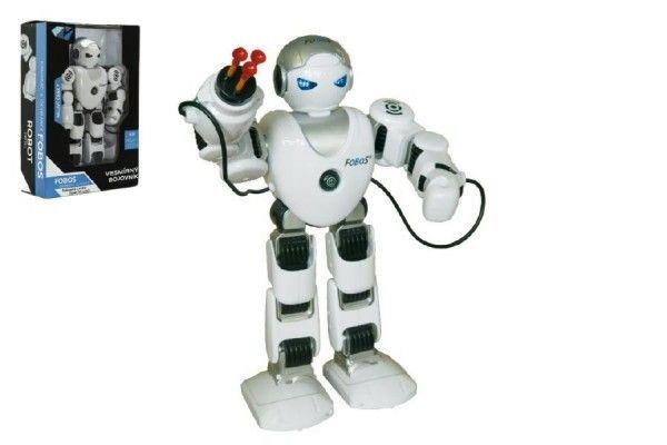 Robot RC FOBOS Bojovník chodící plast 40cm na baterie a USB připojení v krabici 31x44x13cm CZ design Teddies
