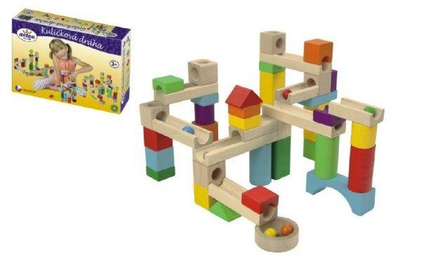 Kuličková dráha dřevo 58ks v krabici 30x20x6cm Detoa