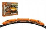Dráha Vlak+koleje a doplňky plast 17ks na baterie se zvukem se světlem v krabici 40x30x7cm