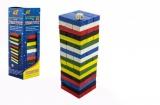 Hra Jenga věž dřevo barevné 48ks hlavolam v krabičce 7x23x7cm