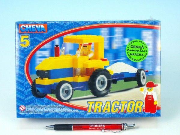 Stavebnice Cheva 5 Traktor s vlekem 84ks v krabici Chemoplast