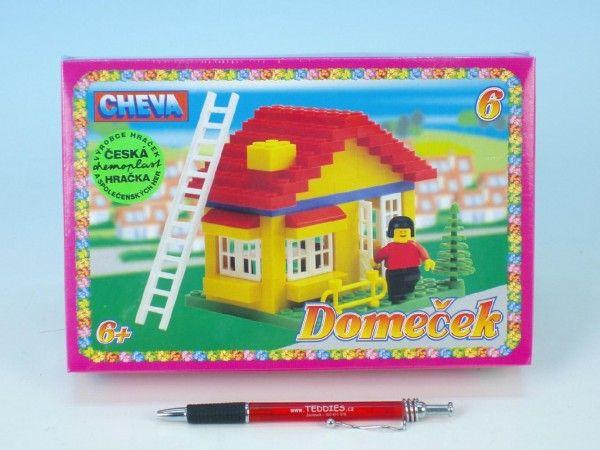 Stavebnice Cheva 6 Domeček plast 86ks v krabici 22,5x15x5cm Chemoplast