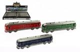 Vlak/Lokomotiva plast 23cm na setrvačník na baterie se zvukem se světlem asst 3 barvy 12ks v boxu