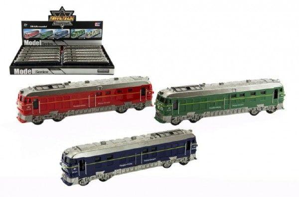 Vlak/Lokomotiva plast 23cm na setrvačník na baterie se zvukem se světlem asst 3 barvy 12ks v boxu Teddies