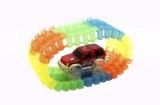 Dráha svítící + auto plast 221ks na baterie v krabici 35x26x9cm Teddies