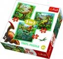 Puzzle 3v1 Svět Dinosaurů 20x19,5cm v krabici 28x28x6cm Trefl