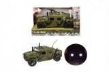 Auto vojenské plast 23cm na baterie se světlem se zvukem na setrvačník v krabici 29x18x13cm