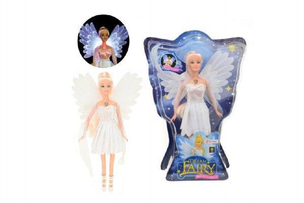 Panenka víla plast 30cm bílé šaty na baterie svítící v krabici 24x34x6cm Teddies