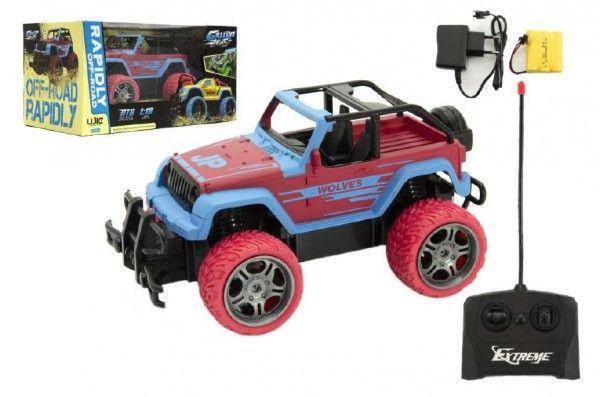 Auto RC terénní plast 20cm na baterie + dobíjecí pack v krabici 31x16x16cm Teddies