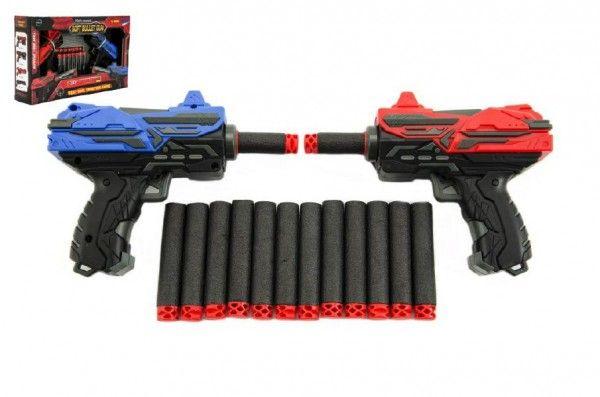 Pistole na pěnové náboje + náboje 2ks v krabici 30x19x7cm Teddies