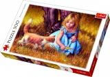 Puzzle Holčička s kočkou malované 500 dílků 48x34cm v krabici 40x27x4,5cm Trefl