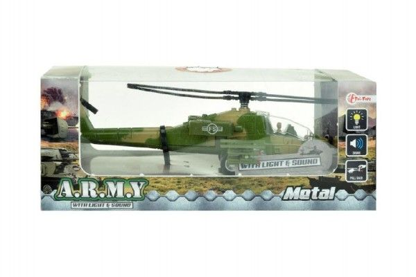 Helikoptéra vojenská plast 18cm na baterie se světlem se zvukem asst 2 barvy v krabici Teddies