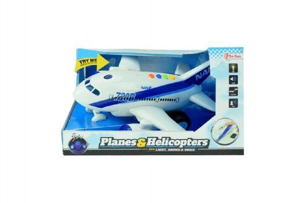 Letadlo plast 26cm na baterie se zvukem se světlem na setrvačník v krabici 27x16x19cm Teddies