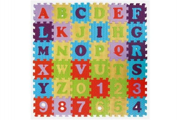 Pěnové puzzle abeceda a čísla asst mix barev 36ks 15x15x1cm SMT Creatoys