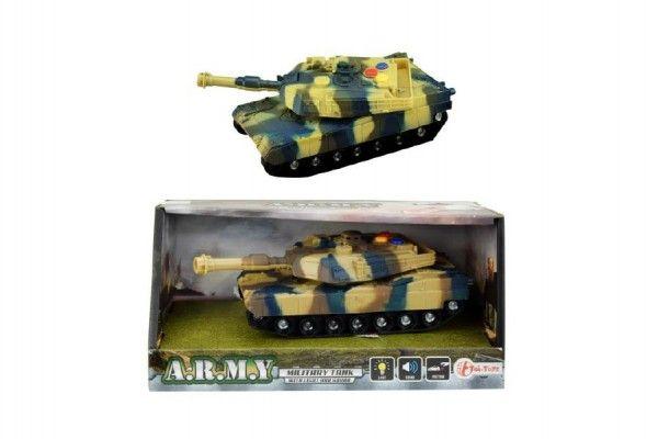 Tank plast 17cm na setrvačník na baterie se světlem se zvukem v krabici 21x11x9cm Teddies