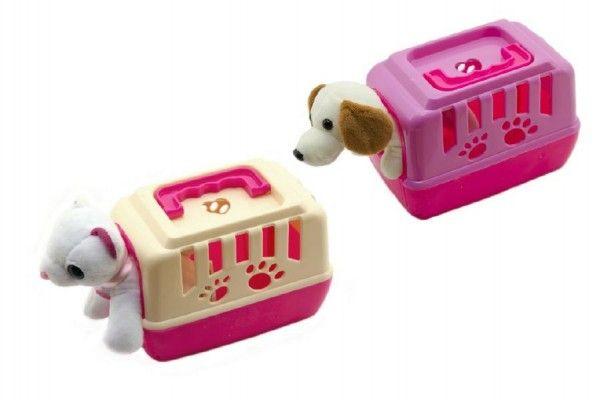 Zvířátko pejsek plyš v přenosném boxu plast 15cm asst mix barev 12ks v boxu Teddies