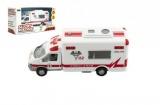 Auto ambulance městské služby plast 15cm na baterie se zvukem se světlem v krabici 19x10x7cm Dromader