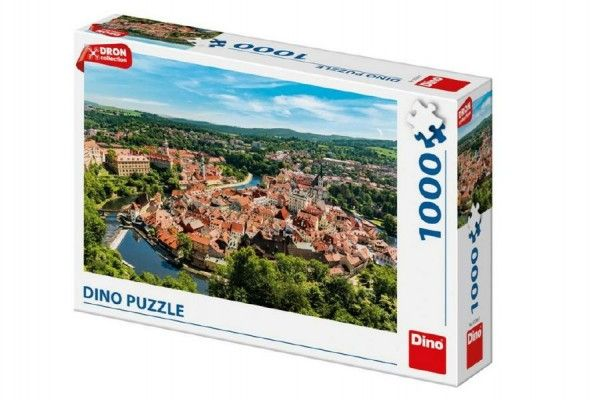 Puzzle Český Krumlov dron 1000 dílků 66x47cm v krabici 32x23x7cm Dino